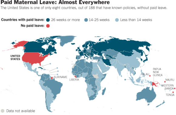 New York Times Paid Maternal Leave Map